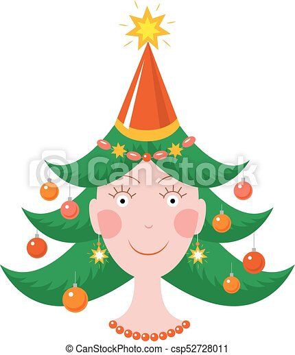 Happy girl in new year mood with a Christmas tree haircut - csp52728011