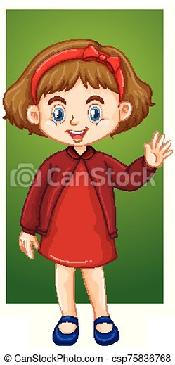 Happy girl in red dress - csp75836768