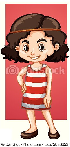 Happy girl in red dress - csp75836653