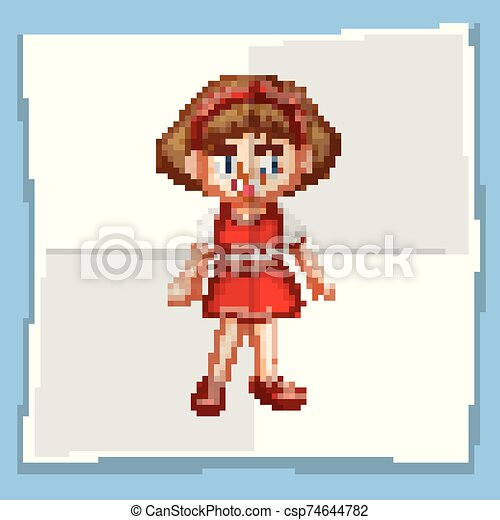 Happy girl in red dress - csp74644782