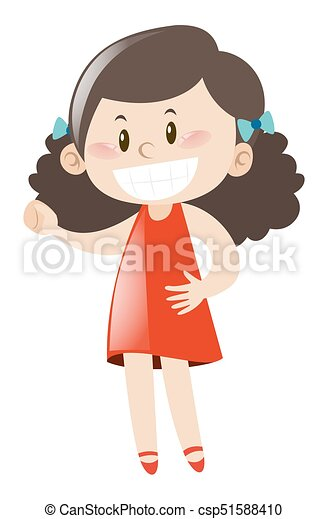 Happy girl in red dress - csp51588410