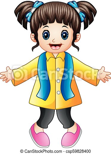 Happy girl in yellow winter clothes - csp59828400
