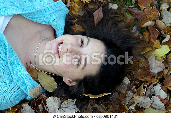 happy girl laying down - csp0901431