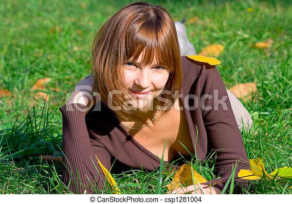 happy girl on green grass 2 - csp1281004