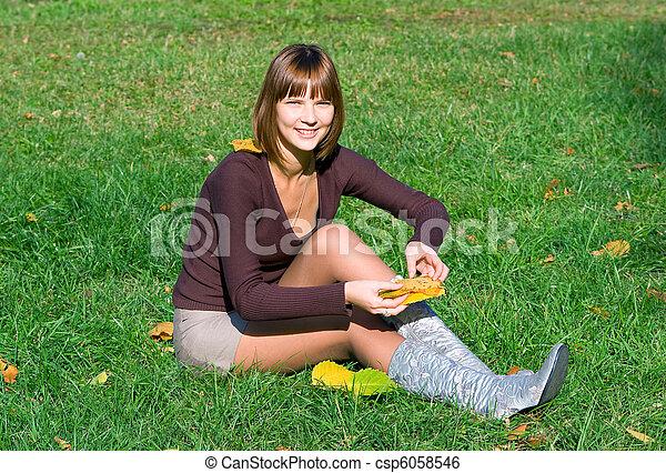 happy girl on green grass - csp6058546