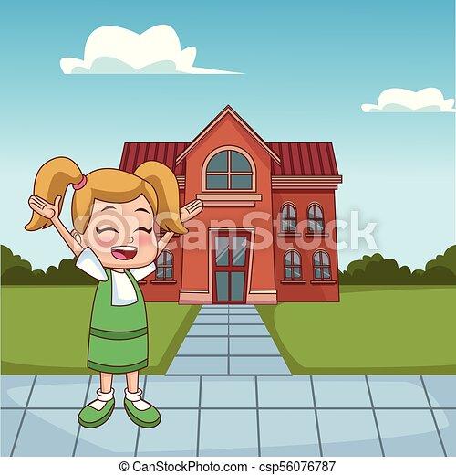 happy girl outside school building cartoon vector illustration