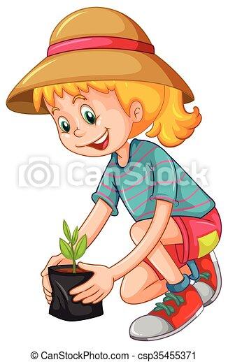 Happy girl planting the tree - csp35455371