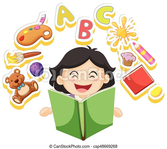 happy girl reading book alone illustration clip art vector search rh canstockphoto com happy girl clipart images happy girl clipart &