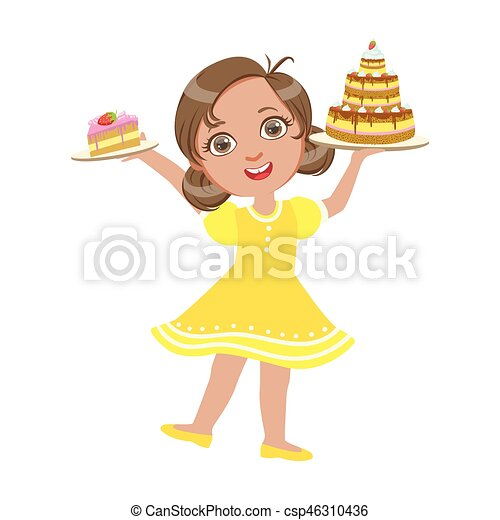 Happy girl standing with a birthday cake in her hand wearing a yellow dress, a colorful character - csp46310436