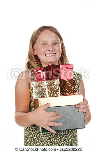 happy girl with presents - csp3288222