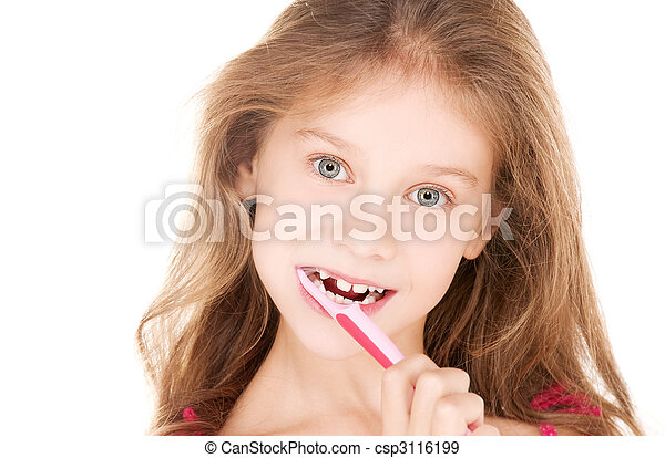 happy girl with toothbrush - csp3116199