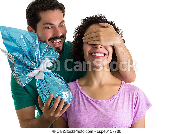 Happy girlfriend gets a surprise gift easter holiday pictures happy girlfriend gets a surprise gift easter holiday csp46157788 negle Gallery