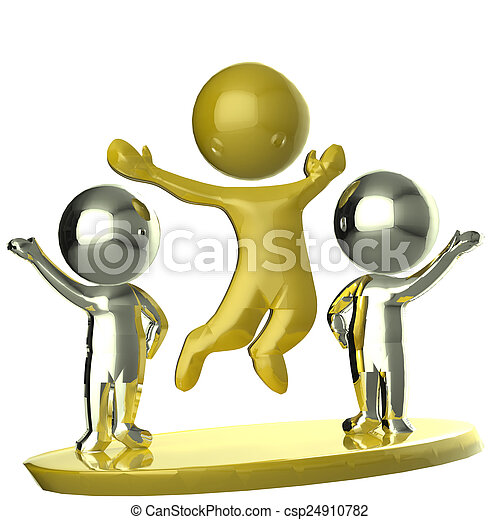 Happy golden and silver team business partners 3D image  - csp24910782