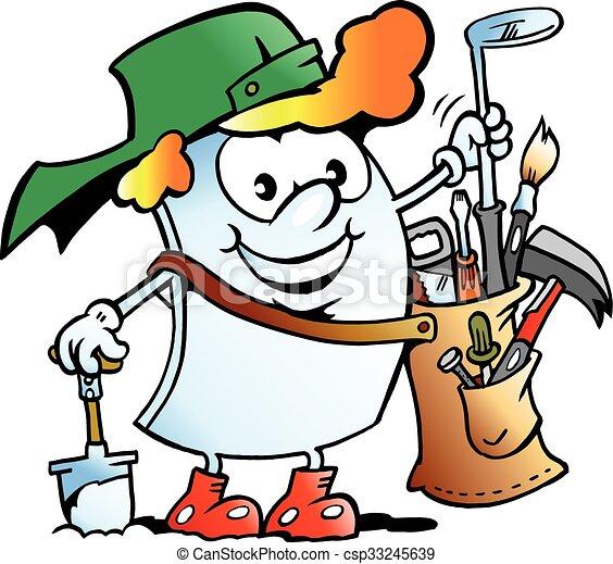 Happy Golfer Paper Mascot - csp33245639