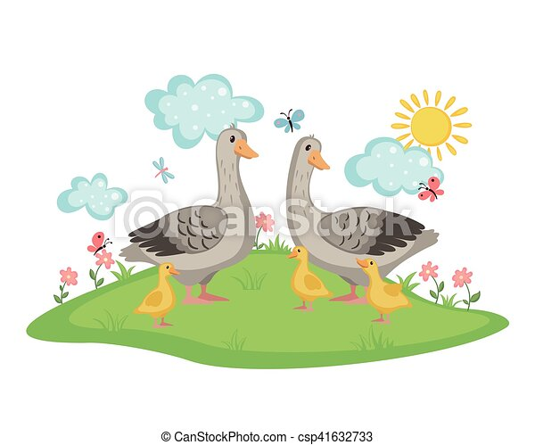 Happy goose family. - csp41632733