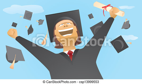 Happy graduate and caps up in the air - csp13999553