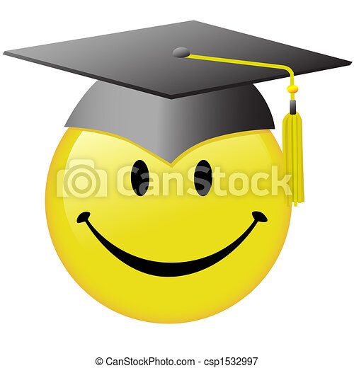 Happy Graduation Smiley Face Graduate Cap Button - csp1532997