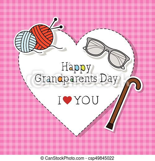 Happy Grandparents Day Greeting Card Colorful Banner Pop Art Style