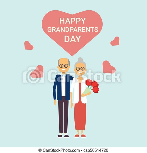 Happy grandparents day greeting card holiday banner grandfather and happy grandparents day greeting card holiday banner grandfather and grandmother couple together csp50514720 m4hsunfo
