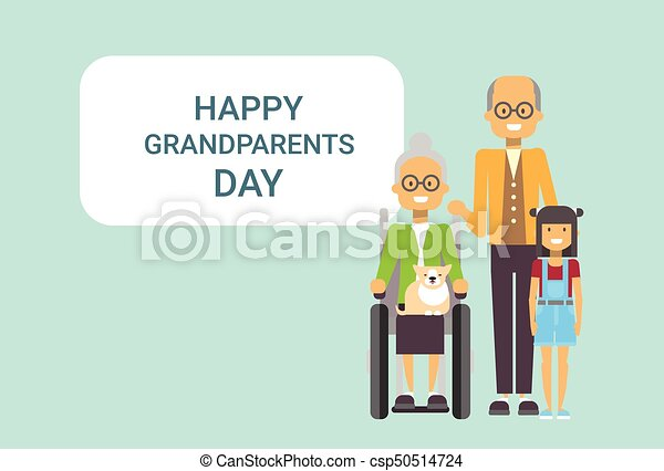 Happy grandparents day greeting card banner grandfather and happy grandparents day greeting card banner grandfather and grandmother with grandchild together csp50514724 m4hsunfo