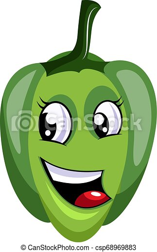 Happy green capsicum illustration vector on white background - csp68969883