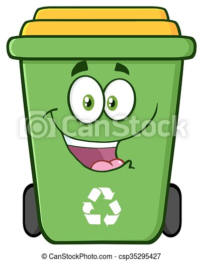 happy green recycle bin cartoon character vector illustration rh canstockphoto com recycle clipart recycle clipart