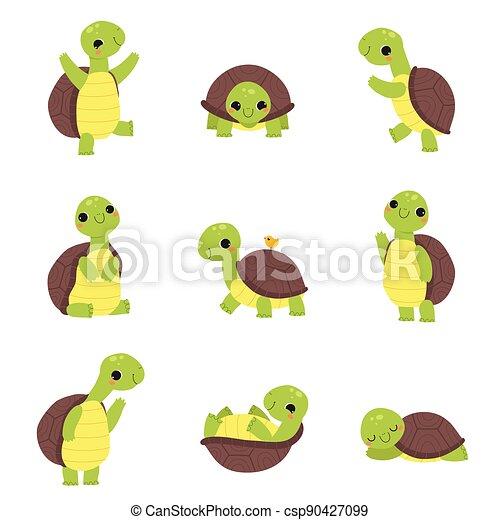 Happy Green Turtle Walking, Waving Paw and Sleeping Vector Set - csp90427099