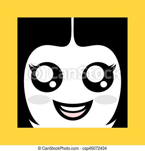 happy gril face icon - csp45072434