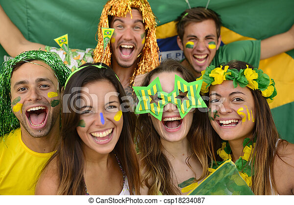Happy group of Brazilian sport soccer fans amazed celebrating victory together. - csp18234087