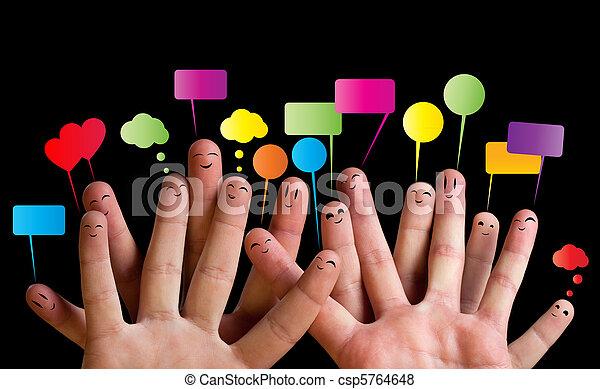 Happy group of finger smileys 2 - csp5764648