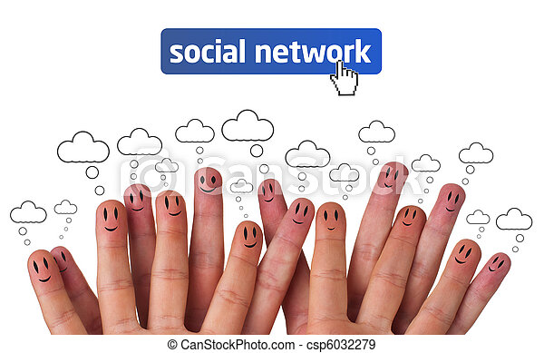 Happy group of finger smileys with social network icon - csp6032279