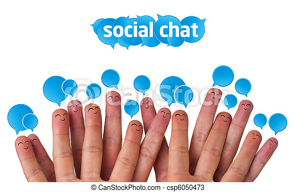 Happy group of finger smileys with social chat sign - csp6050473