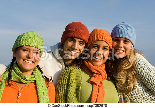 happy group of mixed race kids, youth, teens or teenagers - csp7382670