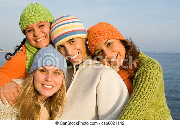 happy group of smiling teens - csp6021142