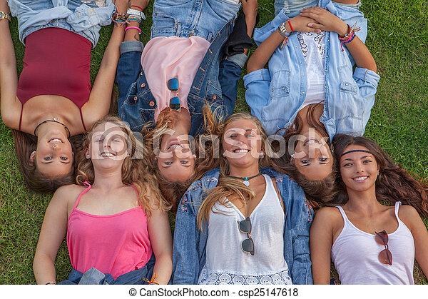 happy group teens - csp25147618