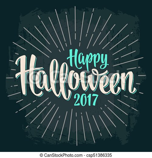 Happy Halloween 2017 calligraphy lettering. Bat flying with scary face - csp51386335