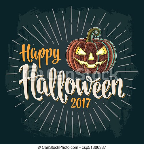 Happy Halloween 2017 calligraphy lettering. Bat flying with scary face - csp51386337