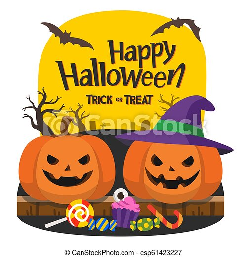 Happy halloween and trick or treat party. pumpkins with ...