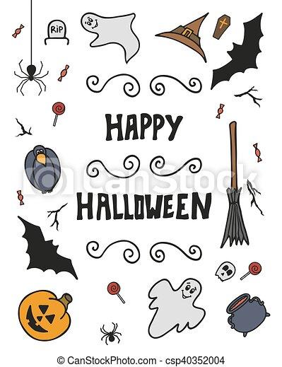 Happy Halloween Background. Design Elements. Vector