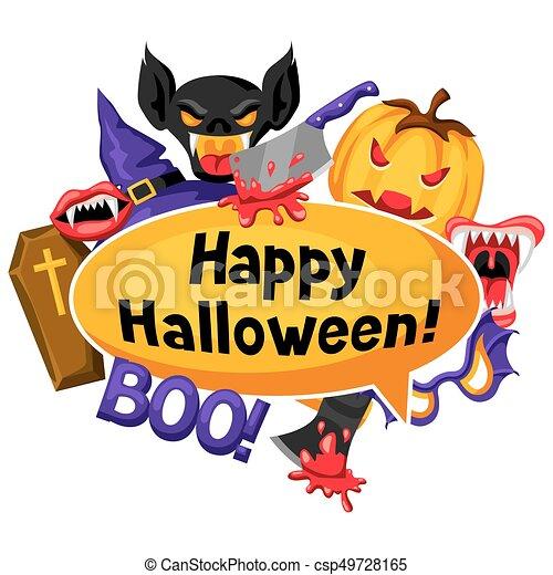 happy halloween background with cartoon holiday symbols clip art rh canstockphoto ca halloween party clipart images halloween party clipart