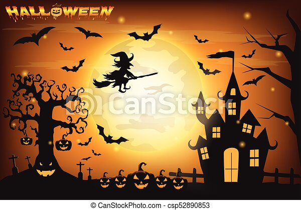 happy halloween background with pumpkin and zombies on the full moon