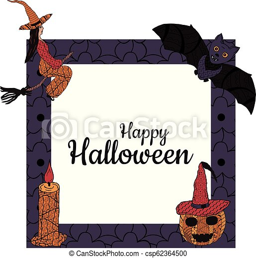 Happy Halloween! Banner. A square frame with a witch on a broomstick, a candle, a bat, a smiling pumpkin in a witch's cap in patterns in the style of Zenart. In the middle is the inscription. Vector. - csp62364500