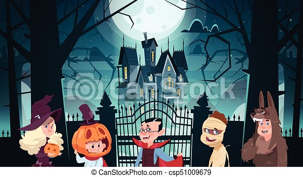 Happy Halloween Banner Holiday Decoration Horror Party Greeting Card Cute Cartoon Monsters Walking To Dark Castle With Ghosts - csp51009679