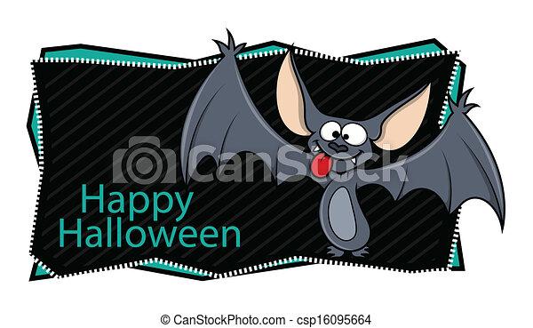 Happy Halloween Banner with Bat - csp16095664