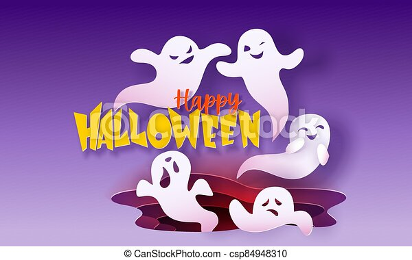 Happy halloween banner with ghosts flying in paper cut style - csp84948310