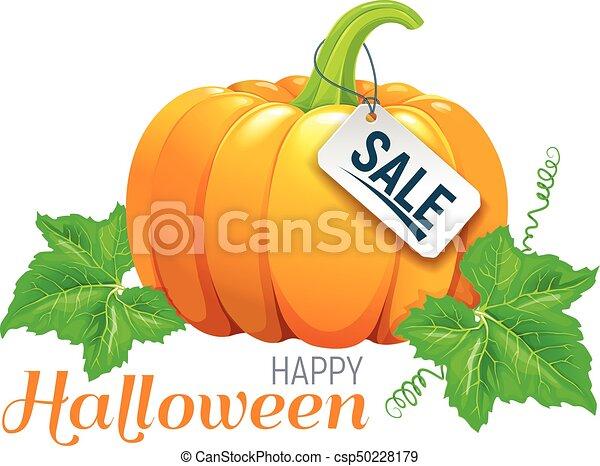 Happy Halloween beautiful pumpkin sale - csp50228179