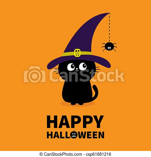 Happy Halloween Black Cat Silhouette Looking To Hanging On Dash Line Web Spider Insect Witch Hat Cap Cute Cartoon