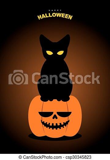 Happy Halloween Black Cat Sits On Pumpkin At Night Terrible