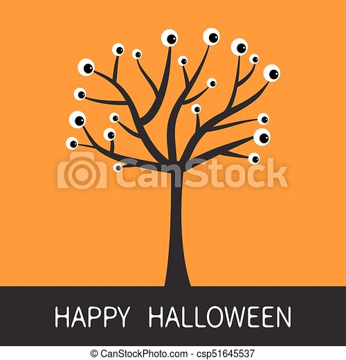 happy halloween card black tree silhouette with eyes plant branch rh canstockphoto com Halloween Cat Clip Art Halloween Faces Clip Art