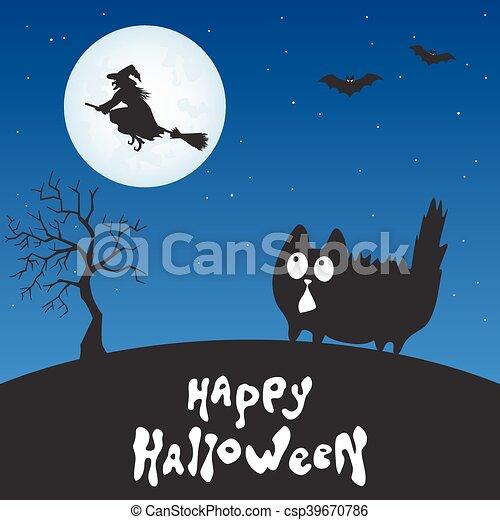 happy halloween card with cartoon cat witch and moon fun cartoon